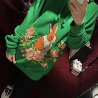 """""""Gucci"""" Women Casual Fashion Flower Rabbit Pattern Embroidery Long Sleeve Pullover Hooded Sweater Tops"""