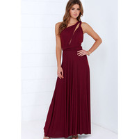 2016 summer sexy women maxi dress wine red bandage long dress sexy party Bridesmaids Convertible beach Dress robe longue femme
