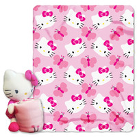 "Hello Kitty - Butterfly Juvenile 40x50 Fleece Throw w/ 14"""" Plush Hugger"