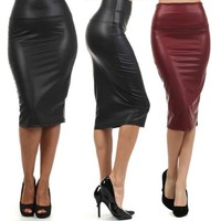 High-Waist Faux Leather Pencil Skirt black skirt 9 colors S/M/L/XL