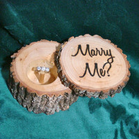 Proposal Ring Box, Christmas Ring Box, Wedding Ring Box, Ring Holder, Christmas Gift, Rustic Wood Ring Box