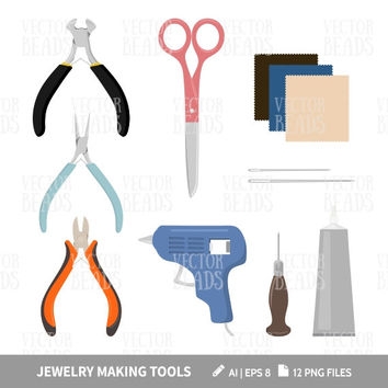 Vector illustration of Jewelry Making Tools - Pliers, Scissors, Needles, Glue, Ultrasuede, Pin pusher, Glue Gun - Ai, Eps, Pdf, Png