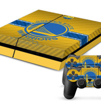 NBA Warriors Decal Sticker Skin For Playstation 4 PS4 Console+Controllers