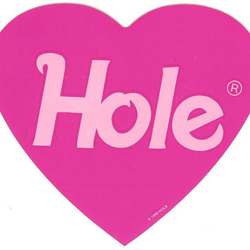 Hole Vinyl Stickers Pink Heart Logo Courtney Love Set Of 4