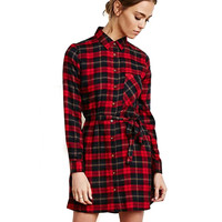Red Plaid Long Sleeve Lapel Dress with Belt