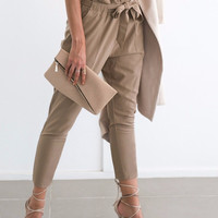 Women's Tan/Kacki Simplee Gorgeous High Waisted Harem Casual Ankle Pant with Tie