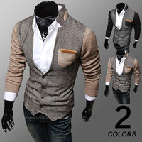 Color Contrast Men Fashion Cardigan