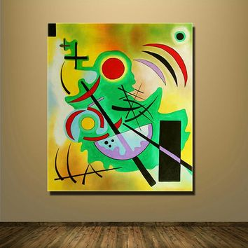 Solid Green Giclee poster By Wassily Kandinsky Printed On Canvas Abstract Art For Living Room Unframed