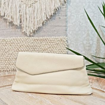 Vintage 1960s Leather + Whipstitch Cream Clutch