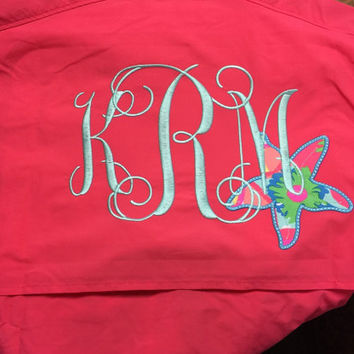 Women's Columbia Fishing Shirt with Lilly Pulitzer Monogram