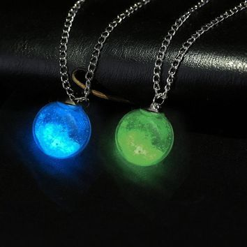Collier Dry Flower Charm Dandelion Wishing Glass Ball Pendant Necklace Link Chain Necklace Glowing Wishing Ball Jewelry