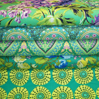 Amy Butler Half Yard Bundle - Rowan Westminster - Designer Cotton Quilt Fabric - Half Yard, Blue Green Fabric Bundle
