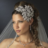 Crystal Leaves Side Accent Bridal Headband Faceframer Wedding Accessories