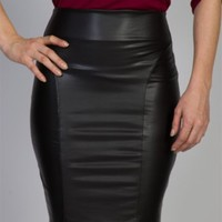 Pleather Pencil Skirt with Back Zipper - Black from Alt.B at Lucky 21 Lucky 21