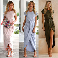 Sundress Short Sleeve Solid Color Casual Style Dress Women Summer Clothing Boho Long Beach Dresses