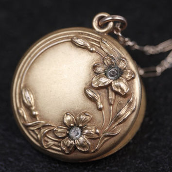 Antique Clear Stone Floral Gold Filled Locket Necklace, Flower Vintage Repousse Pendant, Long Chain Jewellery, Round, Art Nouveau