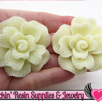 IVORY Faux RHINESTONE Rose Flower Decoden Cabochons (2 pc)
