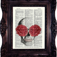Floral Skull Art. Anatomy Art. Anatomy head with flower. Medical Print. Vintage Dictionary Art Print. Skull head Dictionary Print. Code:066