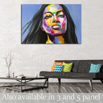 A fantasy woman portrait from colorful emotions series. Oil painting on canvas.   №2760