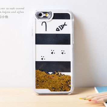 Fish cat  Dynamic Golden Liquid Pink Glitter Sand Quicksand Star Bling Clear iPhone 6 Plus case Black white Phone Case