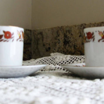 Nice Set Demitasse Espresso Cup And Saucer, Pretty Orange And Yellow Floral Pattern, 4pc Set, Great  Shabby Espresso Gift