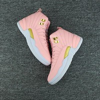 Best Deal Online Nike Air Jordan Retro 12 GS Pink Women Sneakers Sports Shoes