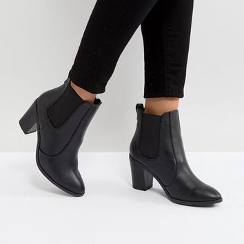 New Look Pointed Leather Look Heeled Ankle Boot at asos.com