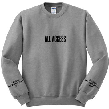 "Justin Bieber PacSun ""All Access / Purpose The World Tour 2016 / Black & Red Purpose Tour"" Gray Crewneck Sweatshirt"