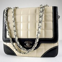 CHANEL Black & White Patent Leather Classic Coco Flap Bag Purse | Portero Luxury
