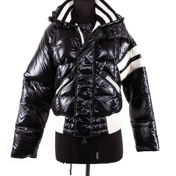 Moncler Black Down Nylon Jacket with White Stripe Detailing