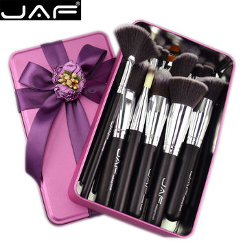 JAF Vegan 24 Pcs Professional Makeup Brushes Very Soft Synthetic Taklon Hair Suitable Gift Metal Box Packing J24SSY-B