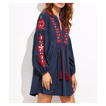 Navy Blue Long Sleeve Embroidered Boho Shift Dress