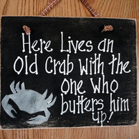 Old crab sign, fathers day, beach, patio, bar outdoor hand painted
