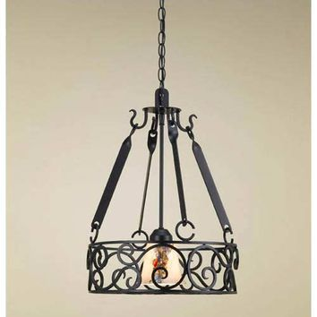 Hi-Lite H-90Y-D-BK01-W-GDL-WHT-ODY Authentic Iron Black Leather Lighted Pot Rack with Glass Down Light