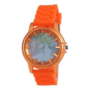 Fashion Lover's Silicone Quartz Watch For Man Women World Map Pattern Casual Clock For Ladies Candy Colors Band Wrist Watch