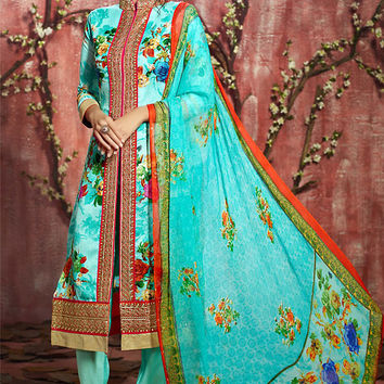 Sky Blue Floral Zari Embroidered Straight Cut Suit