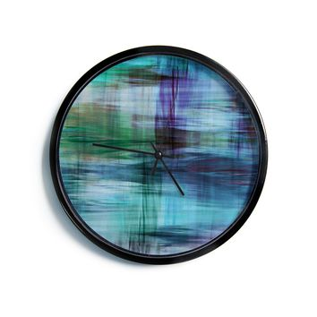"Ebi Emporium ""COLOR BLUR, TURQUOISE BLUE"" Blue Green Abstract Modern Watercolor Mixed Media Modern Wall Clock"