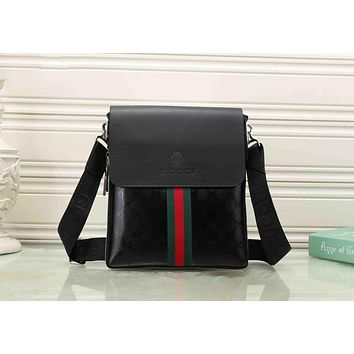 Gucci Trending Women Men Casual Red Blue Stripe Letter Print Leather Crossbody Satchel Shoulder Bag Briefcase(3-Color) Black I-KSPJ-BBDL