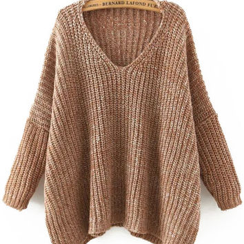 Brown V-Neck Batwing Sleeve Sweater