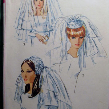 SALE Uncut 1960's Simplicity Sewing Pattern, 6846! One Size Bridal Headpieces/Veils/Two Lengths/Multiple Layers/Lace Veils/Lined Cap/Bow tri