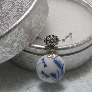 Beautiful Traditional Chinese Ceramic Dragonfly Lacquer Necklace Pendant. White And Blue Porcelain pendant . Asian Ceramic Art, Handmade.