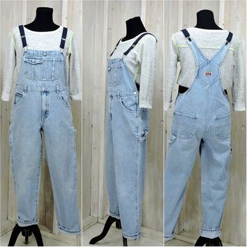Vintage Overalls / denim bib overalls  / 90s Old Navy / womens size S / light wash faded / grunge