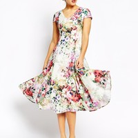 True Decadence Fit and Flare Full Skater Dress In Allover Floral