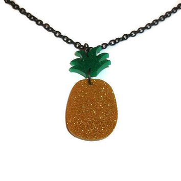 Pineapple Necklace, Glitter, Kitsch Fruit Jewelry Quirky, Cute Laser Cut Acrylic Perspex