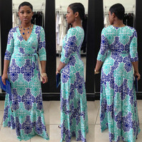 Blue Vintage Print Half Sleeve Deep V-Neck Maxi Dress