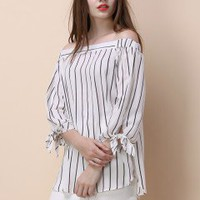 Winsome Stripe Off-shoulder Tunic - Buyer's Pick - Retro, Indie and Unique Fashion