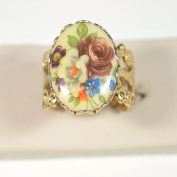 Vintage Painted Cameo Ring Flower Cameo Ring Adjustable Ornate Design Filibree Ring Design Vintage Jewelry Cameo Jewelry Cameo Ring