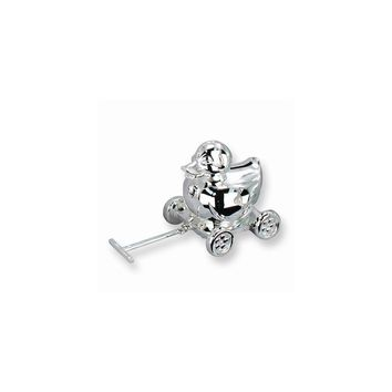 Moveable Wheels Duck Pull Toy Silver-plated Polished Metal Bank