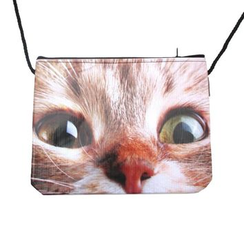 Wide Eyed Kitty Cat Face Print Rectangular Shaped Cross Body Bag | Gifts for Cat Lovers