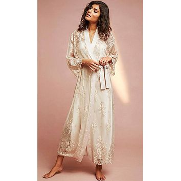 Darling Long Sheer Lace Robe w/Satin Trim (Nightgown available) (XS-Large)